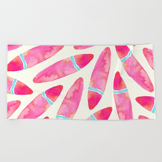 Pink Surf Beach Towel