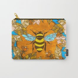 Bumblebee In Wild Rose Wreath Carry-All Pouch