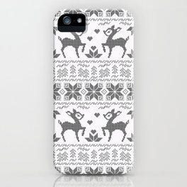 Christmas black and white, the embroidered pattern. iPhone Case