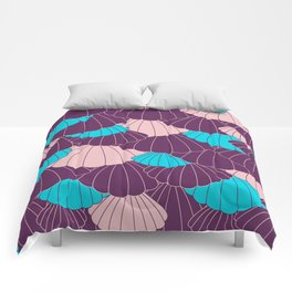 Scallop Abstract - Purple, Pink, Blue Comforters