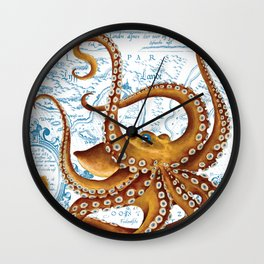 Brown Octopus Ancient Map White Wall Clock