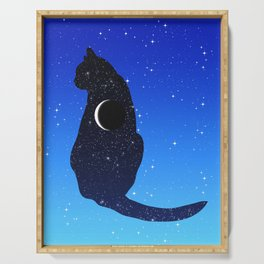Cosmic Cat on a Starry Sky Background Serving Tray