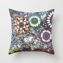 Flowers Zendoodle Artwork Throw Pillow