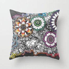 Flowers Zendoodle Artwork Throw Pillow