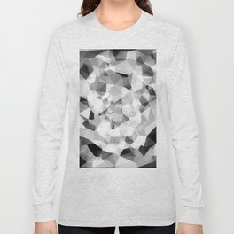 geometric polygon abstract pattern in black and white Long Sleeve T-shirt
