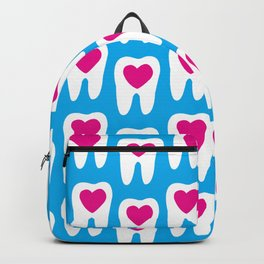 Teeth pattern with hearts in the center on blue background Backpack