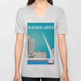 Buenos Aires, Argentina - Skyline Illustration by Loose Petals Unisex V-Neck