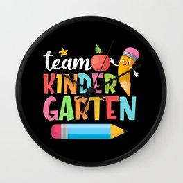 Team Kindergarten Pencil Kids Teacher Preschool Wall Clock