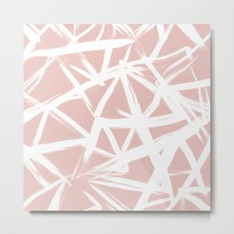 Modern white abstract geometric hand painted brushstrokes pale blush pink Metal Print