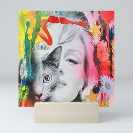 Marilyn and Cat Mini Art Print