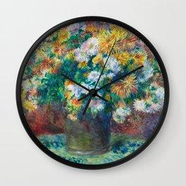 Pierre Auguste Renoir by Chrysanthemums Wall Clock