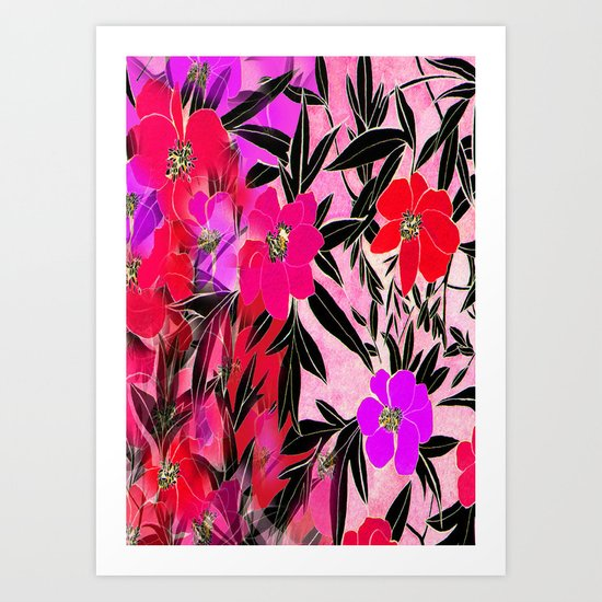 Faded Rosie Peonies Art Print