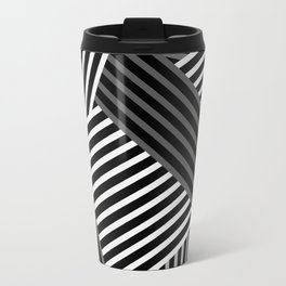 White gray striped abstract pattern 1 Travel Mug