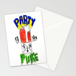 Party till ya puke  Stationery Cards