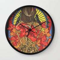 rush Wall Clocks featuring Rush by Carol Wellart
