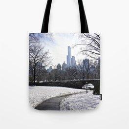 Central Park snow scene Tote Bag
