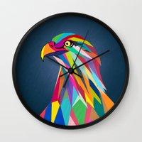 eagle Wall Clocks featuring Eagle by mark ashkenazi