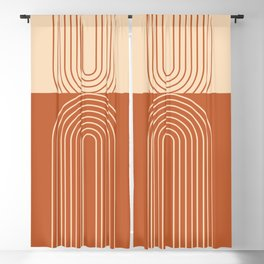 Geometric Lines in Terracotta and Beige 50 (Rainbow Abstraction)  Blackout Curtain