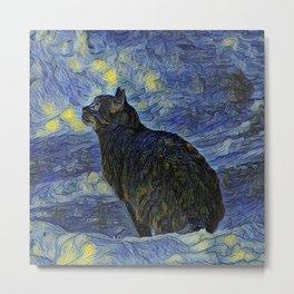 Indigo martian cat in Vincent Van Gogh impressionist painting style. Metal Print