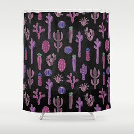 Cactus Pattern On Chalkboard Shower Curtain