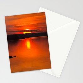 Autumn Sunset Orange Sky Lakescape #decor #society6 #buyart Stationery Cards