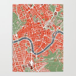 Rome city map classic Poster