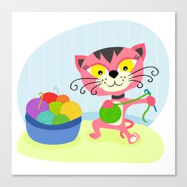 Cute kitten playing with yarn Canvas Print
