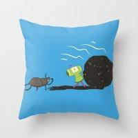 katamari Throw Pillows featuring Dung Roller Katamari by Hoborobo
