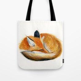Sleeping Fox Watercolor Painting Tote Bag