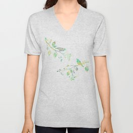 Birds on Branches Love Bird Couple Vintage Floral Pattern Green Yellow Blue Unisex V-Neck