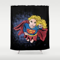 supergirl Shower Curtains featuring Supergirl by Waterflybooks