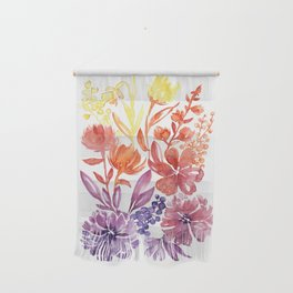 Floral abstract and colorful watercolor illustration Wall Hanging