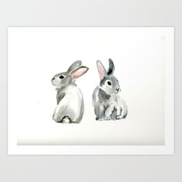 baby rabbit sister watercolor painting  Art Print