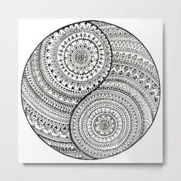 Yin Yang doodle Metal Print