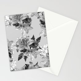GRAY LILY WHITE ROSE FLORAL PATTERN 2020 Stationery Cards