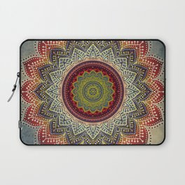 Retro Folk Art - Spirit Lotus Mandala Blue Red Laptop Sleeve