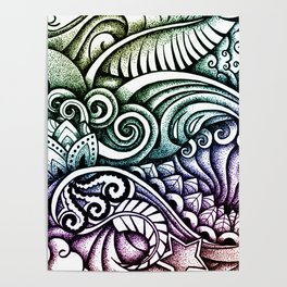 Organic Hand Drawn Ink Doodle Pattern Poster