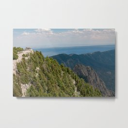 Stone ruins of Kiwanis Cabin on a distant peak on the Sandia Crest in the Sandia Mountains outside of Albuquerque, New Mexico Metal Print