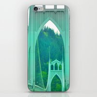 marc johns iPhone & iPod Skins featuring St. Johns Bridge Portland Oregon by Teresa Chipperfield Studios
