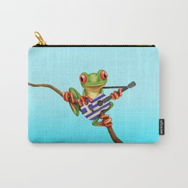 Tree Frog Playing Acoustic Guitar with Flag of Greece Carry-All Pouch