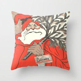 Christmas Pudding And Vintage Santa Vector Throw Pillow