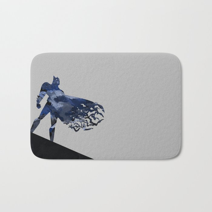 Bat man  Dark blue hero Knight comic digital brush Bath Mat