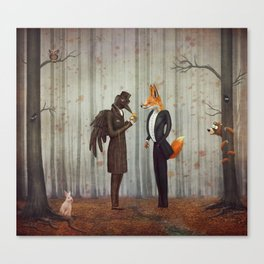 Raven and Fox in  a dark forest looking at the watch Canvas Print