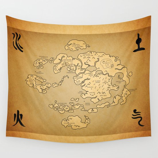 avatar last airbender map wall tapestry