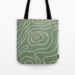 Topographic Map / Grayish Green Tote Bag