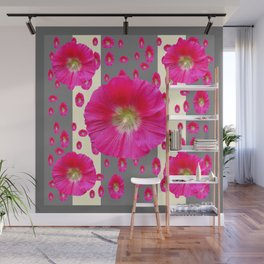 PINK-CERISE HOLLYHOCK FLOWERS  CREAM & GREY GARDEN Wall Mural