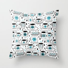 Retro coffee cups teal Throw Pillow