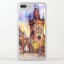 Prague ink & watercolor illustration Clear iPhone Case