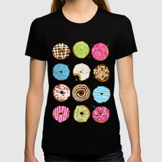 Sweet donuts SMALL Womens Fitted Tee Black