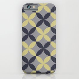 Blue Yellow-Green Grey Flower Pattern Pantone 2021 Color of the Year Ultimate Gray 17-5104 & Accents iPhone Case